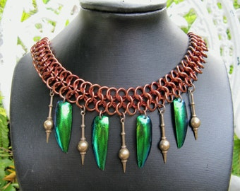 Chain Maille and Beetle Wings Necklace