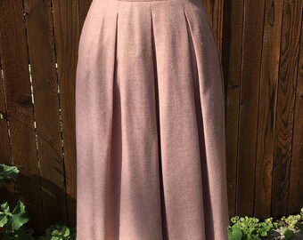 J.G. Hook Vintage 80s Pleated Wool Skirt in Pink