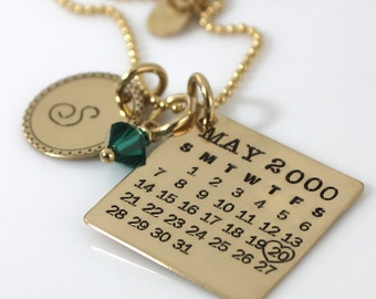 Personalized Calendar Necklace - hand stamped Mark Your Calendar gold filled necklace with Fancy Bordered Initial Charm and Crystal dangle