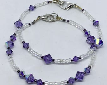 Special Value Set of 2 Dreamy Lavender Crystal and Glass Bracelets – Gorgeous Shimmering Lilac Glass Crystals and Metallic Purple Seed Beads