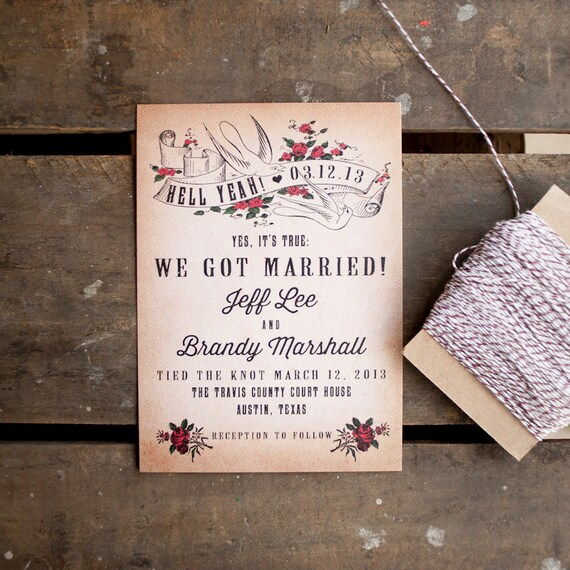 Tattoo Wedding Announcement, Wedding Announcements  - The Ink - Eloped, Punk, Vintage, rock n roll, tattoo, elopement announcement, announce