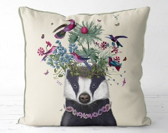 Badger cushion badger print badger gift badger pillow Badger illustration Forest animals pillow woodland decor spring decor throw cushion
