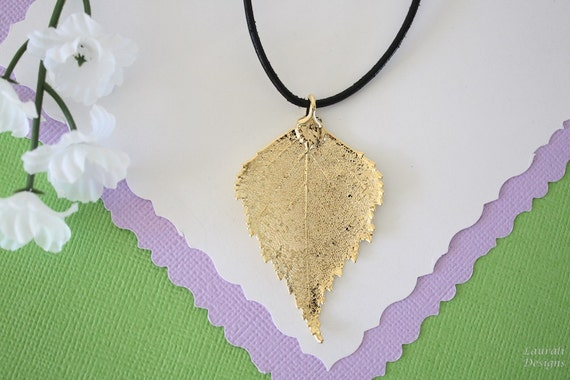 Real leaf necklace - Birch leaf in gold hxeIVK