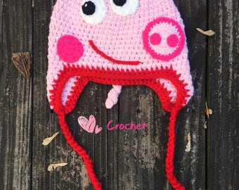 READY to Ship!Peppa pig Hats,George Pig Hat,baby hat,toddler hat,children hat,crochet hat,Peppa Pig Crochet, Peppa Pig Costume,Pig Beanie