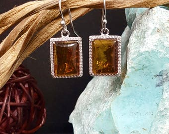 Baltic Amber Rectangle Drop earrings-sterling silver