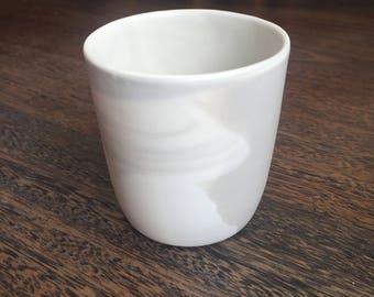 porcelain candle holder. handmade. dishwasher safe.