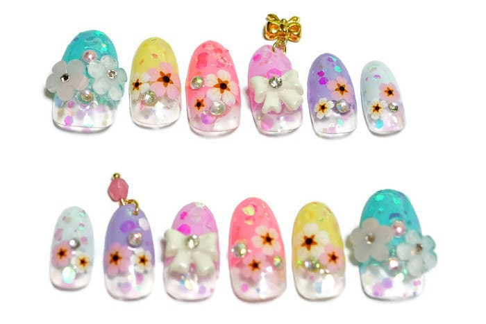 Kawaii nails, 3D nails, Japanese nail, nail art, spring nail, summer ...