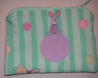 Winnie the pooh Piglet handmade zipper fabric coin change purse card holder