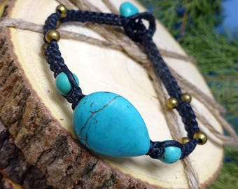 Tear Drop Turquoise Stone Toggle Bracelet