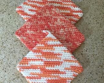 Handmade Multi Colored Crochet Pot Holder, Trivet, Hot Pad 3 Pack
