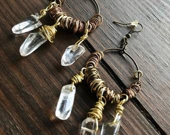 Boho Chic Western Wrap Stone Earrings•••