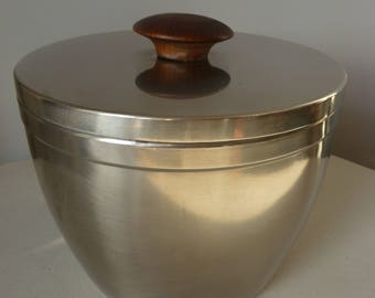1970s Retro Stainless Steel Ice Bucket Glass Insulated Liner Teak Handle Made in England by Cavalier