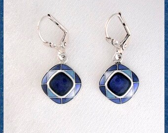 Blue square earrings, enamelled