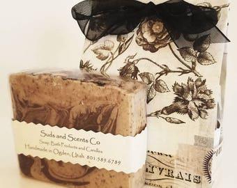 CAFE MOCHA LATTE Handmade Coffee Soap / Goat Milk Soap / Exfoliating Soap / Scrubby Soap / Body Soap / Bar Soap / Handmade Fathers Day Gift