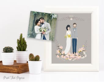 Wedding Illustration - Wedding Portrait - Custom Wedding Portrait - Printable - Bride and Groom Portrait - Wedding Gift - Wedding Keepsake