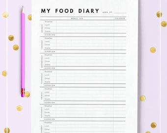 Food Diary A5 / Food Diary HALF LETTER / Food Diary Printable / Meal planner A5 / Meal planner insert / Half letter inserts / A5 inserts