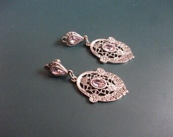 Vintage Marcasite & Amethyst Open Work Filigree Dangle Drop Pierced Earrings