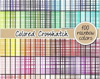 SALE 100 crosshatch digital paper fabric digital paper rainbow digital scrapbooking pattern crosshatch print 12x12 pastel neutral bright dar