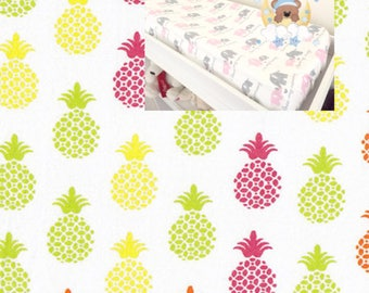 Flannel Pineapple Changing Pad Cover Contoured Changing Pad Cover 100% Cotton  Flannel Modern Nursery Baby Boy Girl Changing Pad Covering