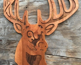 Deer Wooden Wall Art Wall hanging Country Home Decor Farm House Decor
