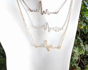 Nurse gift, Female Doctor thank you gift, Heartbeat necklace - ekg - nurse jewelry - doctor jewelry,Retirement gift,medical jewelry