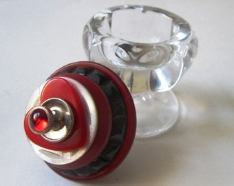 Vintage Button Ring and Proposal Box:  Red Bakelite Heart Mother of Pearl Vintage Button & Clear Parfait Glass Salt Cellar Jewelry Box
