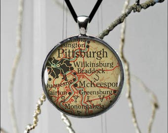 Cute Pittsburgh Pennsylvania Map Metal Pendant Custom Made Unique Necklace Vintage Style Gift Idea - 2 sizes available