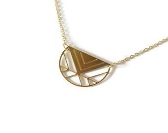 Collier Géométrie,laiton doré à l'or fin