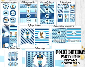 Police Party pack Police Birthday decorations Police party decorations Birthday pack INSTANT DOWNLOAD