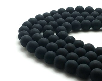 "Natural Frosted Black Agate Beads 4∼12mm Strand 15.5""-38cm Frosted Agate Strand Frosted Onyx Strand Matte Black Agate Matte Black Onyx Matte"
