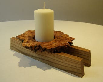Japanese Inspired Single Candle Holder in Burr Elm and Wych Elm