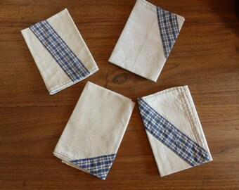 Set von 6 Stoffservietten aus antiken Leinen: dunkelblau
