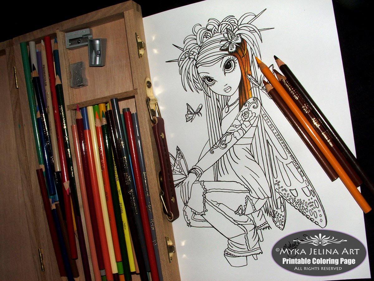 Paige - Moon Fairy - digitaler Download - Malvorlagen - Myka Jelina ...
