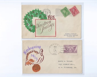 Handpainted Thanksgiving and Christmas Event Covers Postmarked TURKEY, Ark. and BETHLEHEM, Pa.