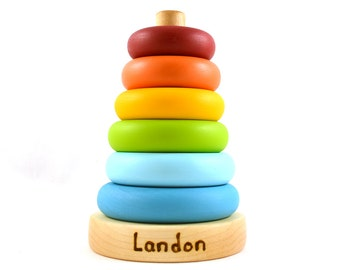 Personalized Wooden Stacker - Rainbow Wood Toy - Stacking Toy for Kids - Christmas Gift
