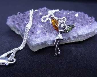 Mother's Day Gift Sterling Silver and Amber Fairy Charm Necklace