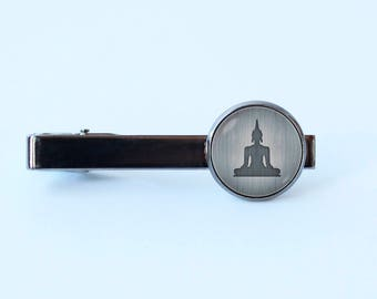 Buddha tie clip Buddha statue Yoga tie clip Zen gift Buddha jewelry Buddha tie bar Men gifts Zen tie clip Yoga jewelry Meditation Gift idea