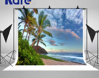 Beach Seaside Palm Trees Tropical Photography Backdrops Blue Sky White Clouds Photo Backgrounds for Beautiful Landscape Studio Props