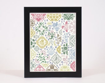 INSTANT DOWNLOAD ABC in the Round .pdf counted cross stitch patterns by Quiltify Design at thecottageneedle.com sampler