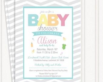 Chevron Baby Shower Invitations