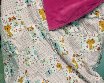 Pink kitty throw blanket