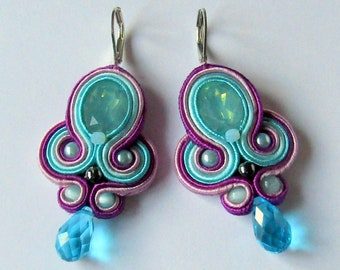 Soutache Earrings Violet - Turquoise