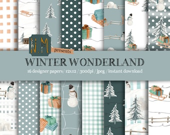 Winter digital paper pack Winter Wonderland digital pattern watercolor snow igloo tree snowman skis gift cabin sledge blue orange christmas