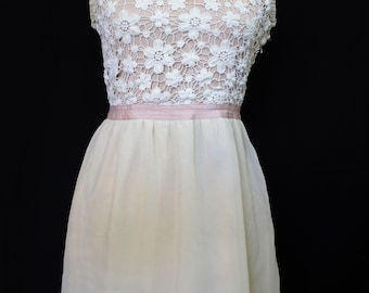 Lace and Chiffon Champagne Floral Dress