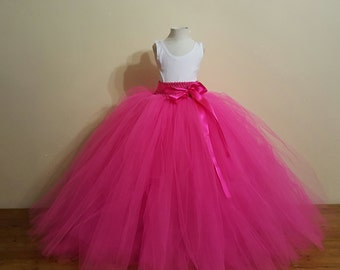 Hot Pink  Flower girl long Tutu Skirt  -Wedding,birthday,flower girl- Can Be MADE in Other COLOR