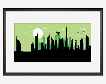 Dubai skyline print, The big jump, Superhero print, Hulk inspired art, Dubai art, Dubai print, Dubai poster, Hulk Nursery, Hulk print, Hulk