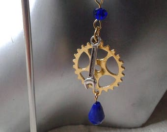 """steampunk gold and silver"" earrings"