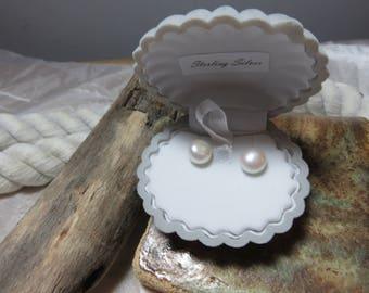 Freshwater button pearl earrings