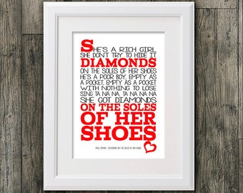Diamonds on the soles of her shoes Paul Simon 8x10 picture mount & Print Typography song music lyric for framing (No Frame )