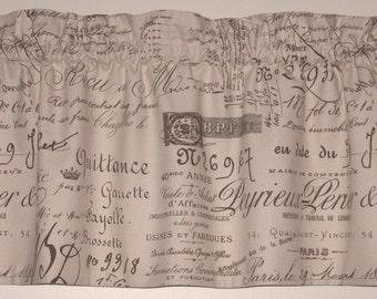 French Script Fabric Window Valance